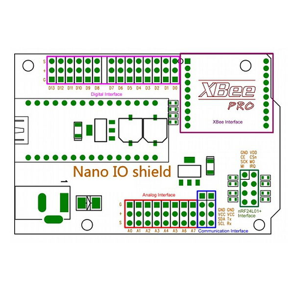 Arduino Nano IO Shield on arduino circuit schematic, arduino led schematic, arduino mini schematic, arduino uno schematic, attiny85 schematic, arduino r3 schematic, arduino board schematic, photocell schematic, arduino ethernet schematic, arduino pro schematic, arduino mega schematic, arduino shield schematic, speaker schematic, arduino micro schematic, arduino schematic pdf, breadboard schematic, arduino lcd schematic, arduino pinout diagram, ultrasonic schematic, arduino relay diagram,