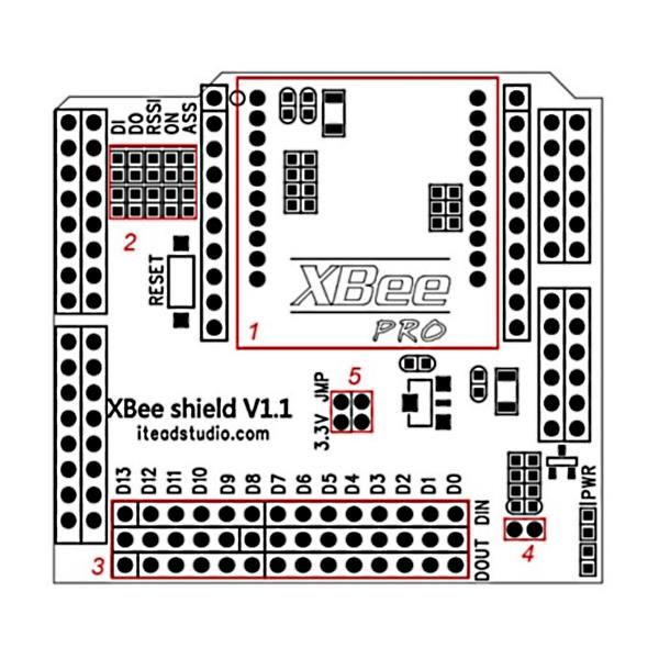 Xbee socket shield for arduino