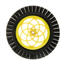 Yellow Motor and Servo Wheel with Thick Rubber Tire (pair)